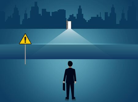 Businessmen standing There is a gap between the paths. Go to the door destination for success. Business concept of challenge problem solving. leadership. creative idea. vector illustration 일러스트