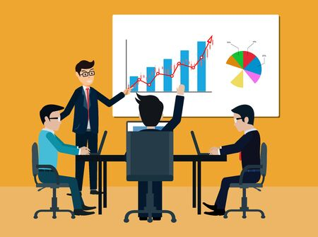 teamwork business meeting concept. businessmen help to brainstorm modern idea and to achieve success and rise. manager hold a conference. and comment on the participant. illustrated vector illustration 向量圖像