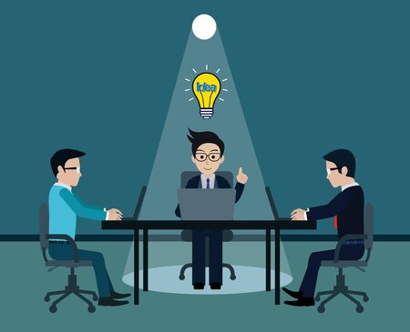 Businessman three in workspace sit at the desks with notebook with light bulb over his head one person and lighting flashlight shining down. creative idea. leadership. vector illustration