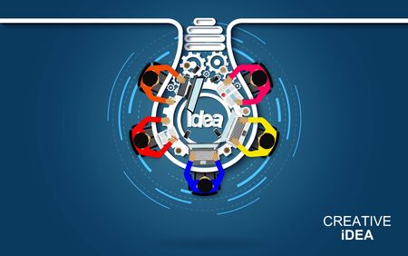 Business meeting in the form of light bulb gear icon concept. Businessmen help to brainstorm modern idea. teamwork. project management, financial report and strategy. to achieve and success