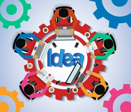 Business meeting in the form of gears and icon. Businessmen help to brainstorm modern idea. consulting, teamwork, on blackboard background, financial report and strategy. to achieve and success