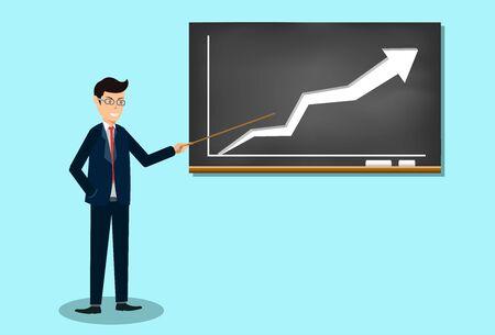Businessman present growing business finance. creative idea. vector illustration