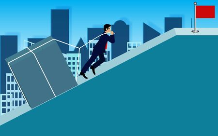 Businessmen pulling the concrete up the slope. go to the goal of financial business success and effort go to target growth. creative idea. leadership. vector illustration 向量圖像