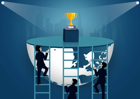 Successful business finance race concept. Businessmen competition walk up the staircase to the goal. progress in the job. of the highest organization. leadership. world vector illustration