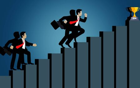 Businessmen compete go to up the bar graph to the goal. destination, victory  to success concept with idea. leadership concept. ladder to success business. cartoon vector illustration Stock Illustratie