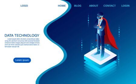 hero businessman is standing wearing goggle vr on the luminous button. concept IT technology. web header template. flat isometric vector illustration