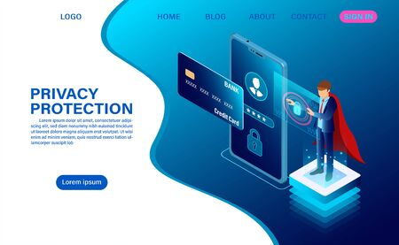 banner protect data and confidentiality on mobile. privacy protection and security are confidential. web header template. flat isometric vector illustration
