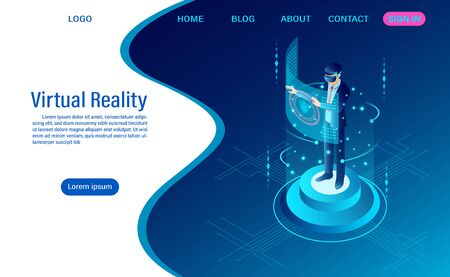 businessman wearing goggle vr with touching interface into virtual reality world. future technology. flat isometric. web header template. flat isometric vector illustration 向量圖像