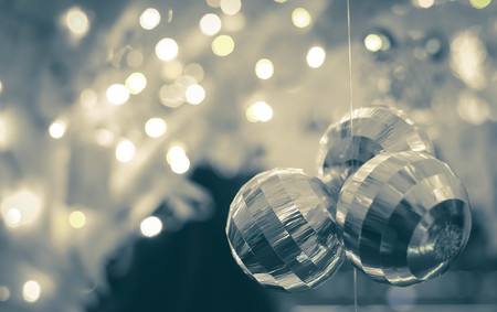 selective focus Snow Globe - Christmas Magic Ball with bokeh Stock Photo