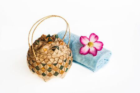 wickerwork: Kra-oop, Thai native wicker package made from palm leaf Stock Photo
