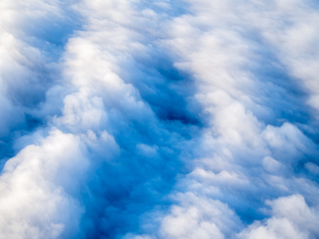 topdown: An aerial view of a layer of stratocumulus clouds, top-down perspective Stock Photo