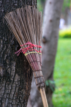 asian gardening: Asian reed straw gardeners broom leaning against a tree trunk. Gardening and home cleaning concept.