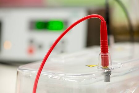 Close-up detail of a red wire from one of the electrical terminals of an agarose gel electrophoresis chamber. Gel electrophoresis is used to diagnose genetic diseases, cancers, and for research.