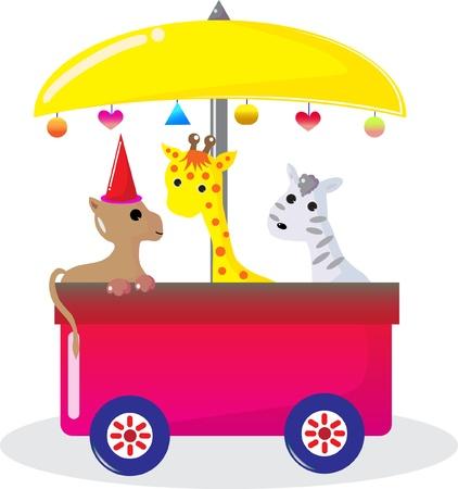 Dog giraffe and zebra sitting on the bus. Vector