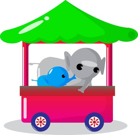 Elephant sitting on the bus. Vector