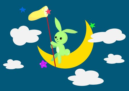 green day baby blue background: Rabbit on the Moon.