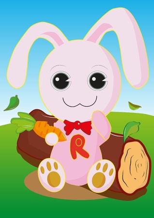 rabbits eat carrots. Stock Vector - 11471822