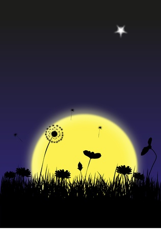 Twilight, moon and flowers Vector