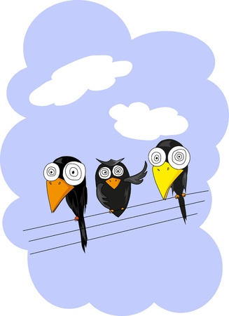 Three birds on power lines Vector