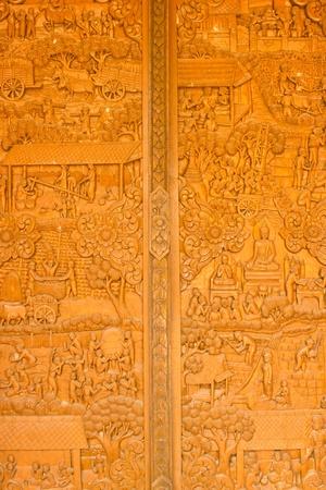Thai art of wood carving  photo