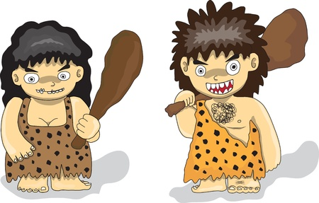 neanderthal: Stone Age people Illustration