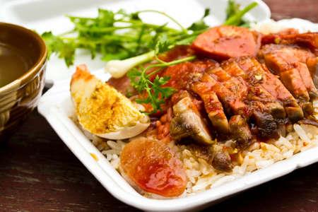 Rice with roasted pork  photo