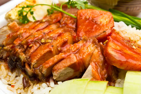 Rice with roasted pork Stock Photo - 13955336