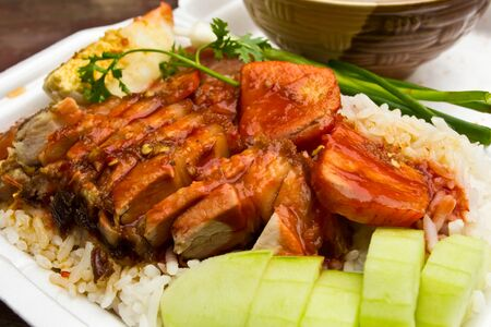 Rice with roasted pork Stock Photo - 13955340