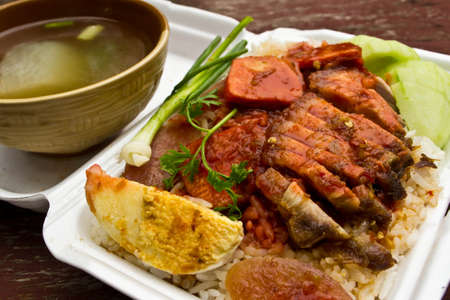 Rice with roasted pork Stock Photo - 13955335