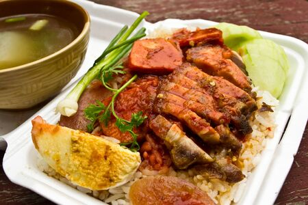 Rice with roasted pork Stock Photo - 13955339