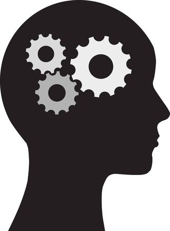gears concept: Man and  brain