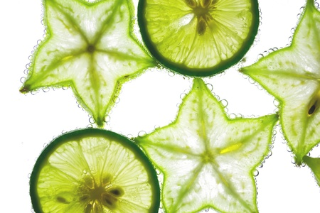 Carambola and lemon in water photo