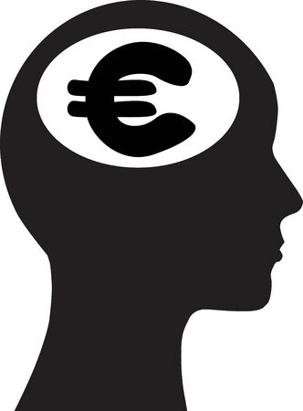 Man and thinking and money, background  Vector
