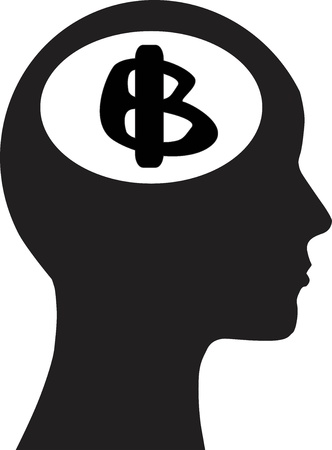 Man and thinking and money Vector