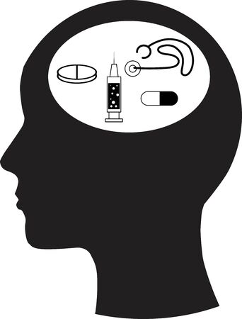 Man and thinking, and medicine  Vector