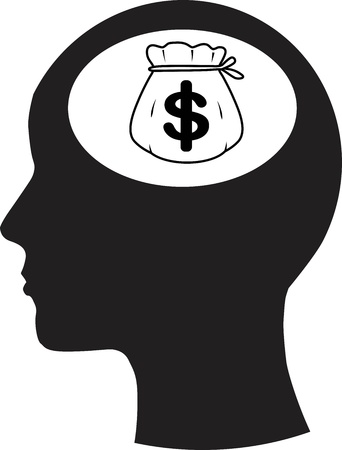 psychological: Man and thinking, and money  Illustration