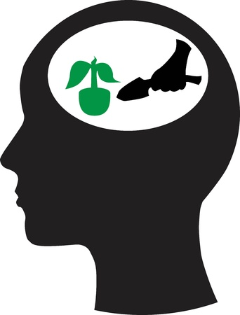 Man and thinking, and nature  Vector