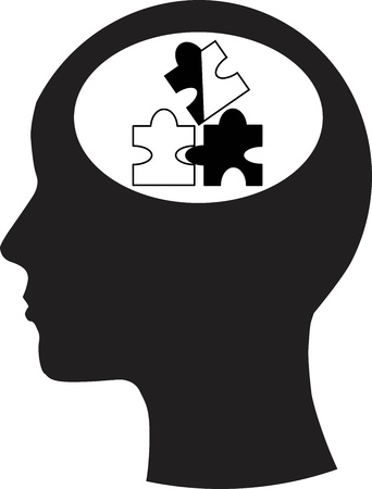 Man and thinking, and puzzle  Vector