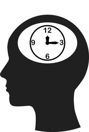 part time: Man and thinking, and time Illustration