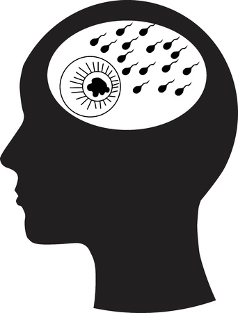 Man and thinking, Sperm and ovaries Stock Vector - 14808619