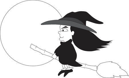 Witch riding a broom Stock Vector - 14808627