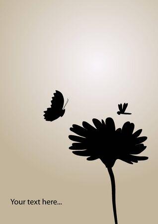 papillon rose: fleur et papillon fond