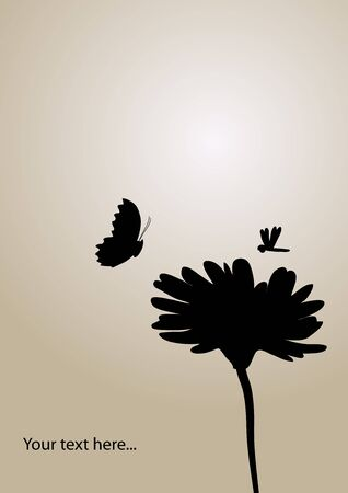 pink and brown background: flower and butterfly background Illustration
