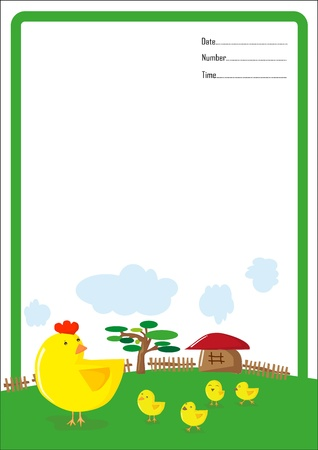 clip art feet: background hen and chick cartoon vector Illustration