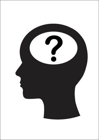 two minds: Man and thinking, Question mark Illustration