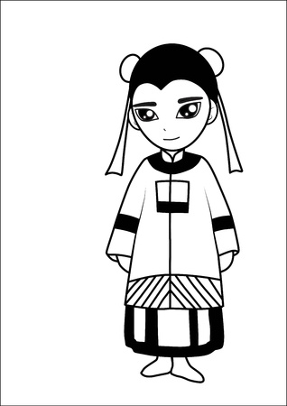 traditional custom:  Chinese women cartoon