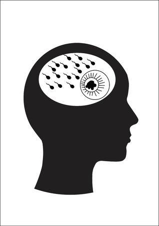 Man and thinking, Sperm and ovaries Stock Vector - 15247873