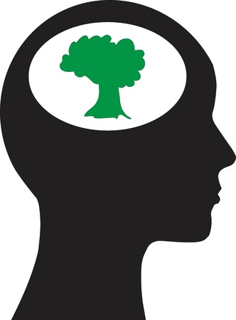 Man and thinking, and tree Stock Vector - 15248002