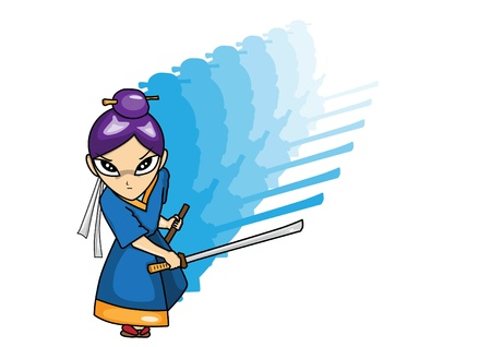 Samurai  cartoon illustration Vector