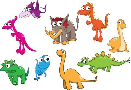 cartoon dinosaur: Collection of dinosaurs  Illustration